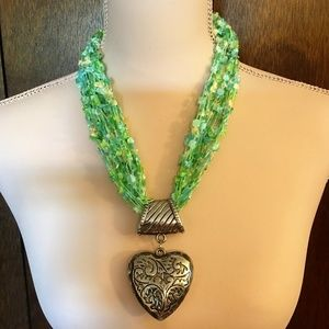 Handcrafted Necklace & Lg Heart Pendant